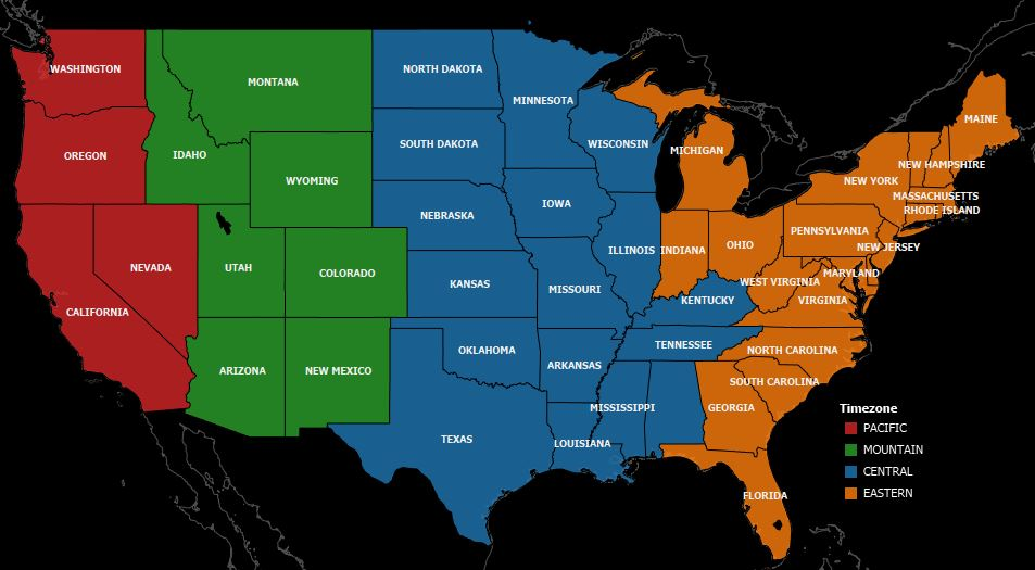 Deep Root Analytics - Us map with time zones hightlighted